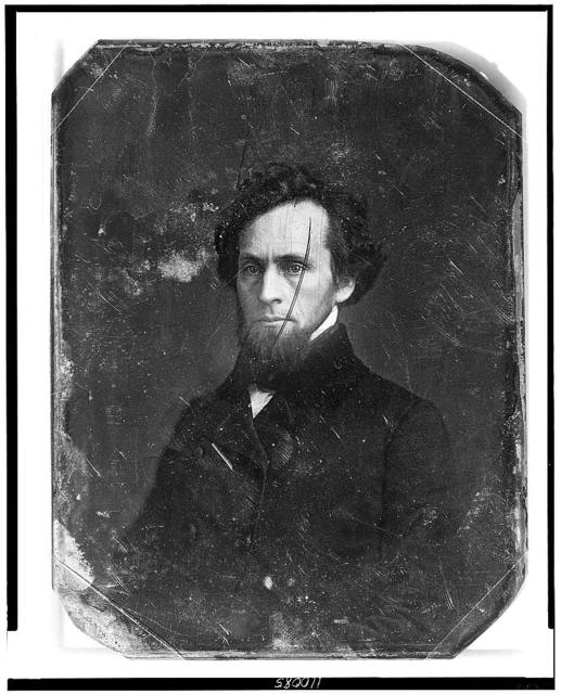 [Unidentified man, about 30 years of age, head-and-shoulders portrait, three-quarters to the left, with chin whiskers]