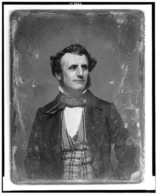 [Unidentified man, about 35 years of age, head-and-shoulders portrait, facing front, head three-quarters to the right, wearing striped waistcoat]