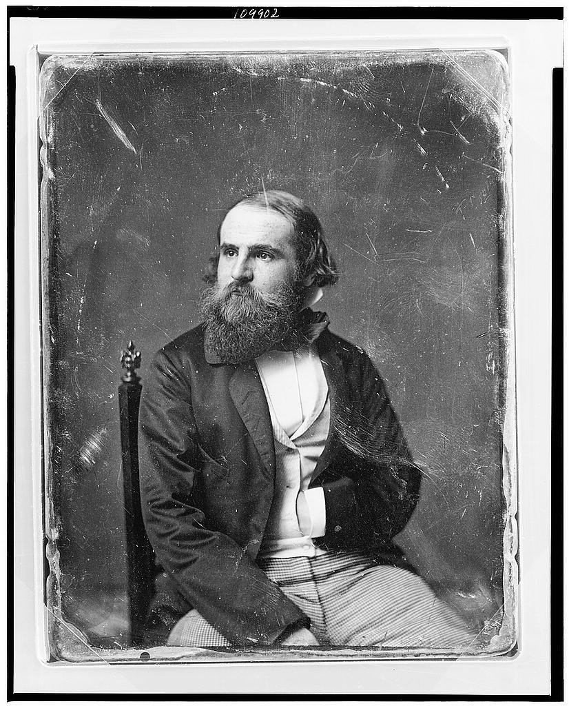 [Unidentified man, about 40 years of age, three-quarter length portrait, slightly to the right, head three-quarters to the left, seated in chair, one hand in waistcoat, with full beard]