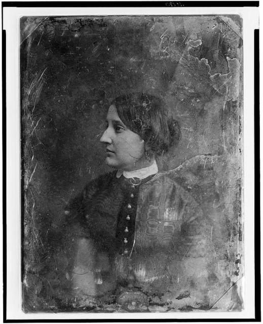 [Unidentified woman, about 25 years of age, half-length portrait, three-quarters to the left, the head nearly in profile]