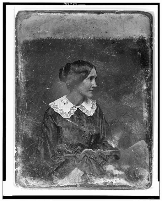 [Unidentified woman, about 35 years of age, half-length portrait, slightly to the right, head in profile to the right]