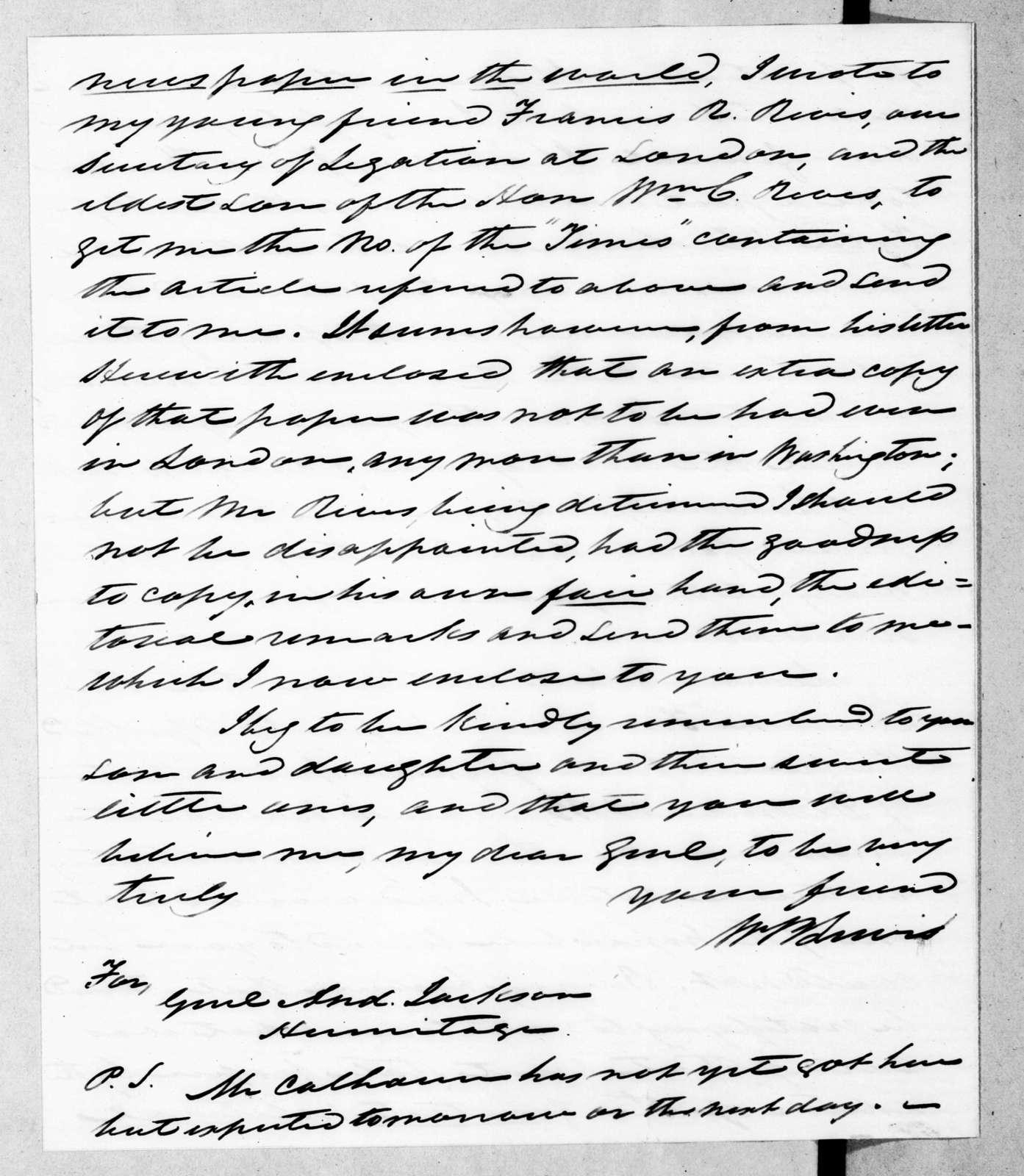 William Berkeley Lewis to Andrew Jackson, March 28, 1844