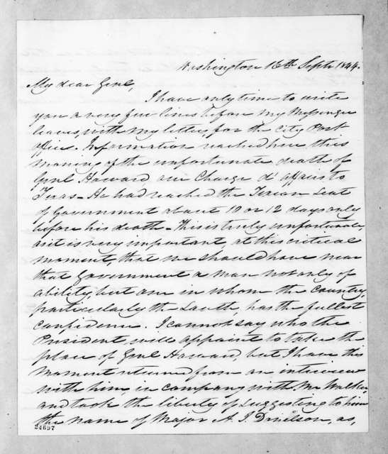 William Berkeley Lewis to Andrew Jackson, September 16, 1844