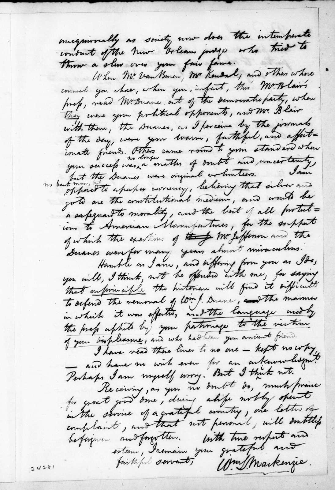 William Lyon Mackenzie to Andrew Jackson, February 21, 1844
