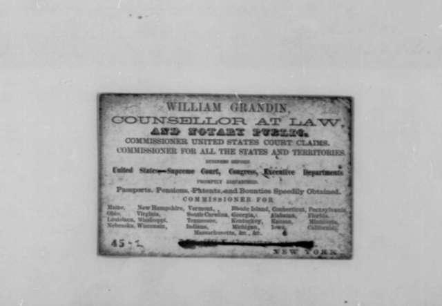 Zachary Taylor, et al., 1844-1862  (Recommendations for William Grandin;)