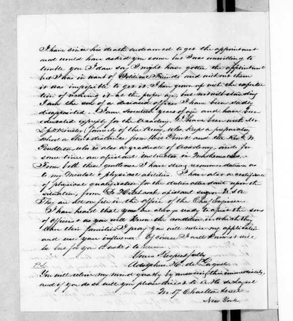 Adolphus H. DeLagnel to Andrew Jackson, March 3, 1845