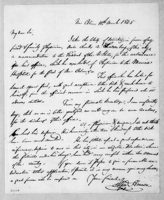 Alfred Hennen to Andrew Jackson, March 11, 1845