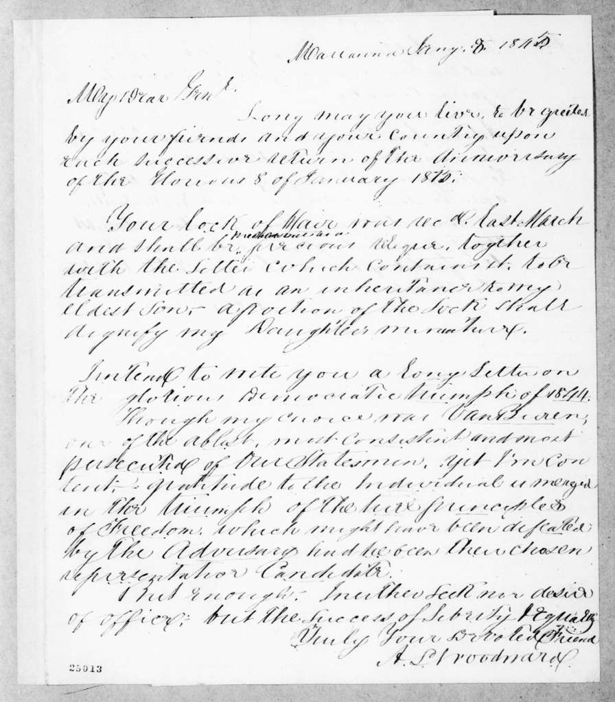 Alfred L. Woodward to Andrew Jackson, January 8, 1845