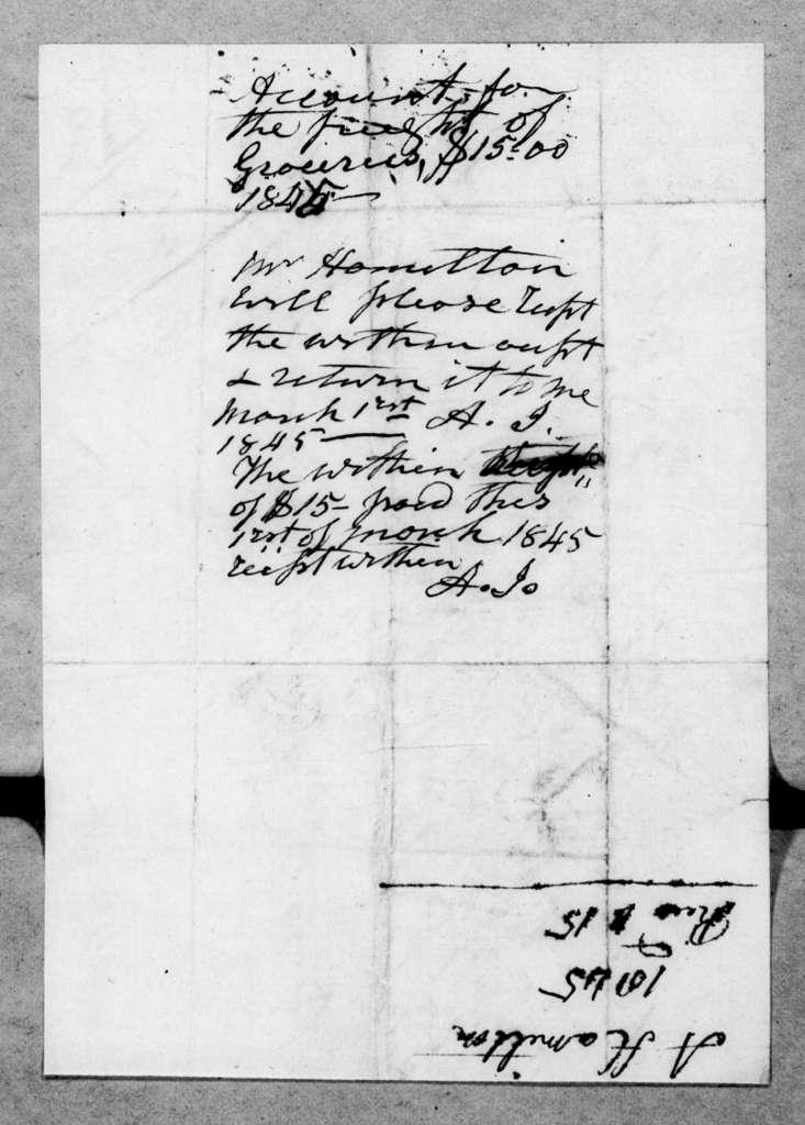 Andrew Hamilton to Andrew Jackson, Jr., February 28, 1845