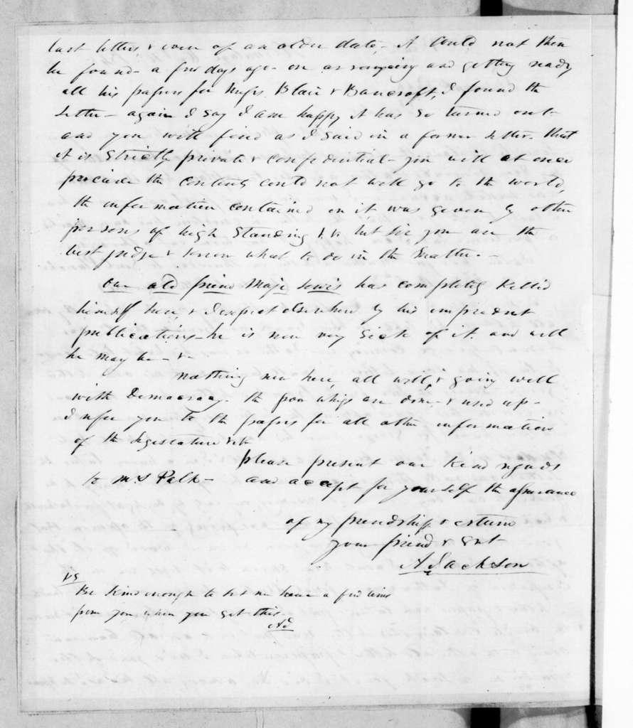 Andrew Jackson, Jr. to John Knox Polk, October 10, 1845