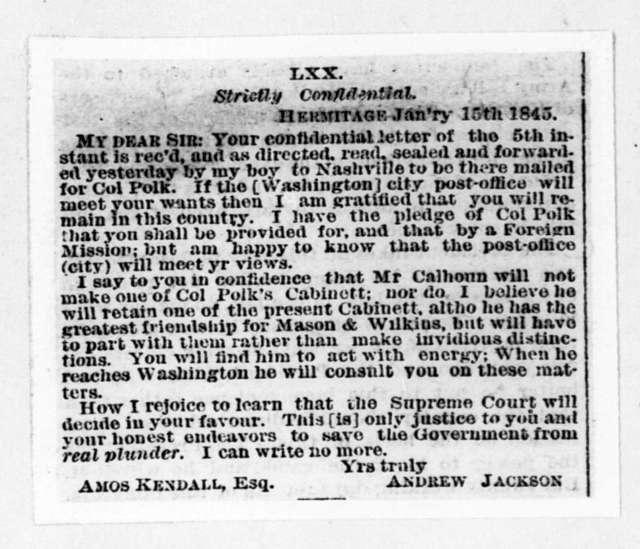 Andrew Jackson to Amos Kendall, January 15, 1845