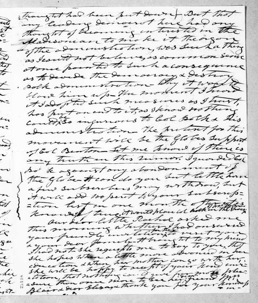 Andrew Jackson to Francis Preston Blair, February 28, 1845