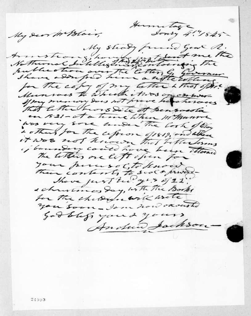 Andrew Jackson to Francis Preston Blair, January 4, 1845