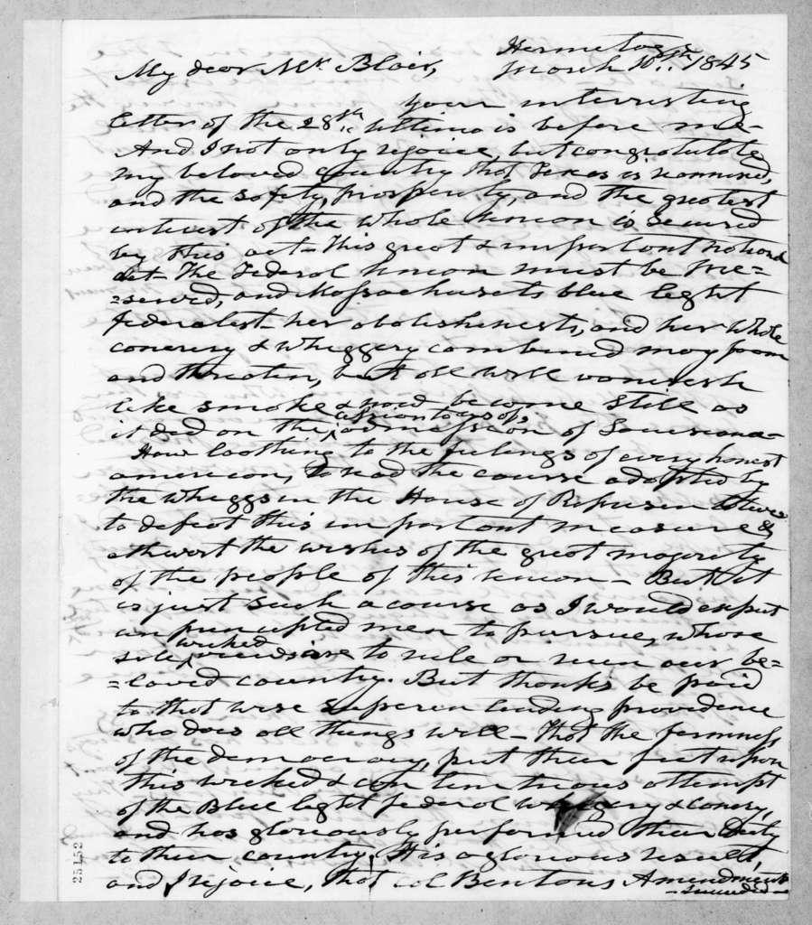 Andrew Jackson to Francis Preston Blair, March 10, 1845