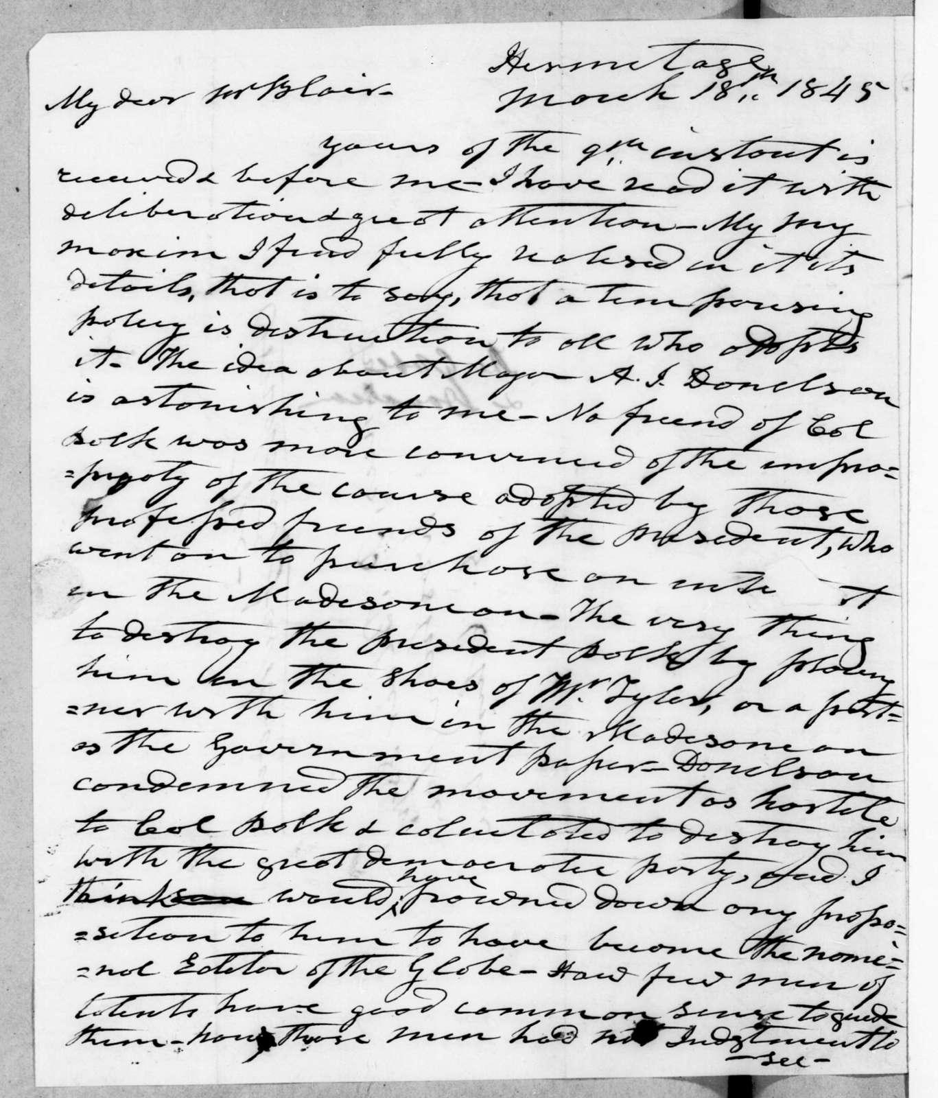 Andrew Jackson to Francis Preston Blair, March 18, 1845