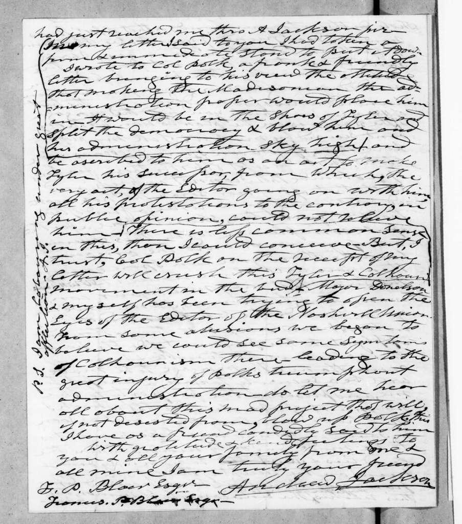 Andrew Jackson to Francis Preston Blair, March 3, 1845