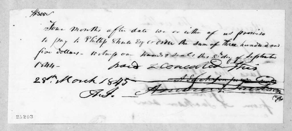 Andrew Jackson to John A. Shute, March 28, 1845