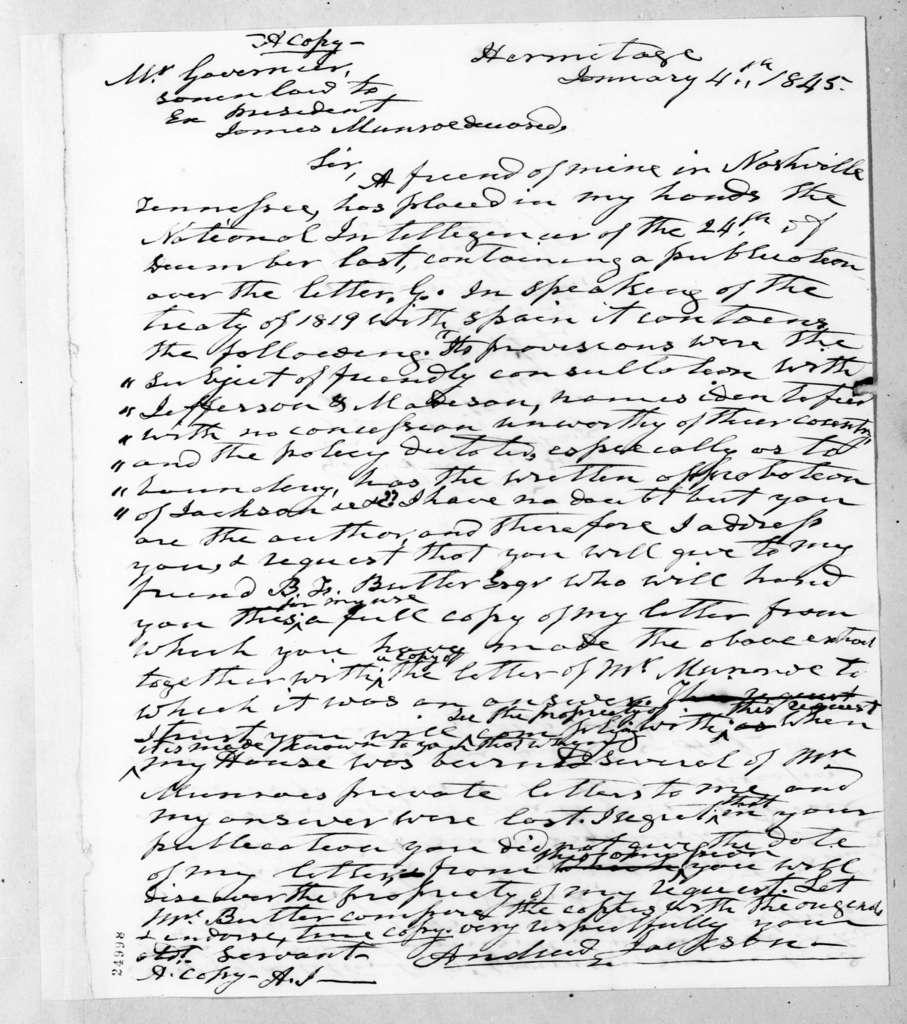 Andrew Jackson to Samuel L. Gouveneur, January 4, 1845