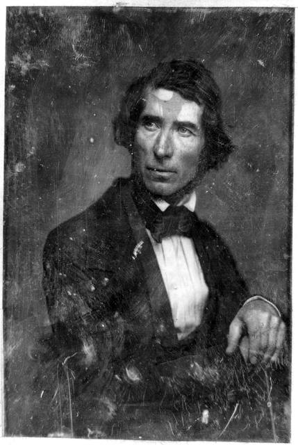 [Asher Brown Durand, half-length portrait, three-quarters to the right, head three-quarters to the left, with both hands resting on cane, at right]