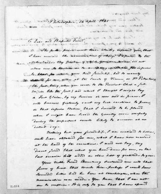 Auguste Genevieve Valentin Davezac to Andrew Jackson, April 24, 1845