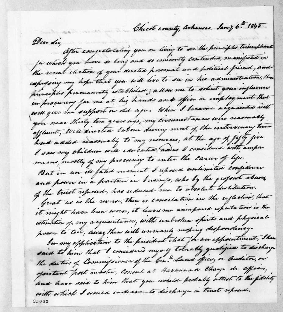 Ben Fayton to Andrew Jackson, January 6, 1845