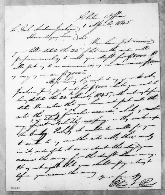 Blair & Rives to Andrew Jackson, April 1, 1845