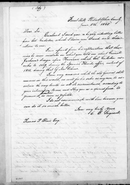 Charles Jared Ingersoll to Francis Preston Blair, June 5, 1845