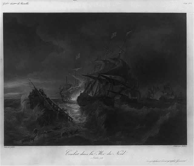 Combat dans la mer du nord, 2 Octobre 1706 / peint par Gudin ; gravé par Skelton.