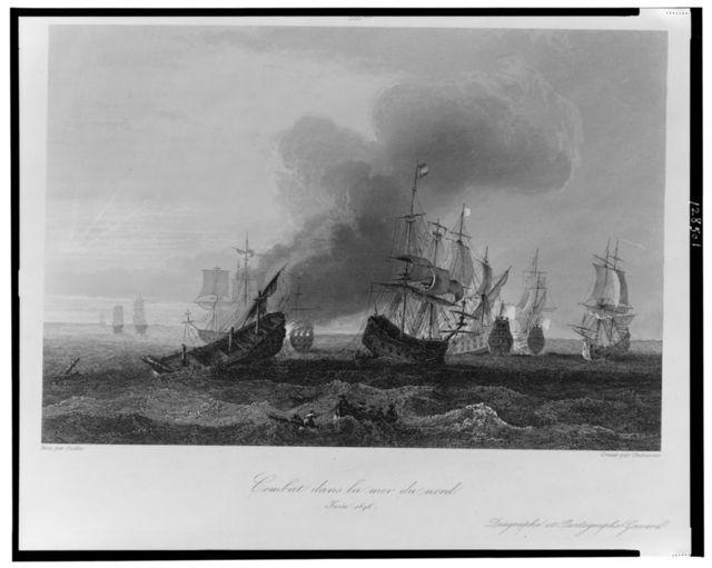 Combat dans la mer du nord, Juin 1696 / peint par Gudin ; gravé par Chavanne.