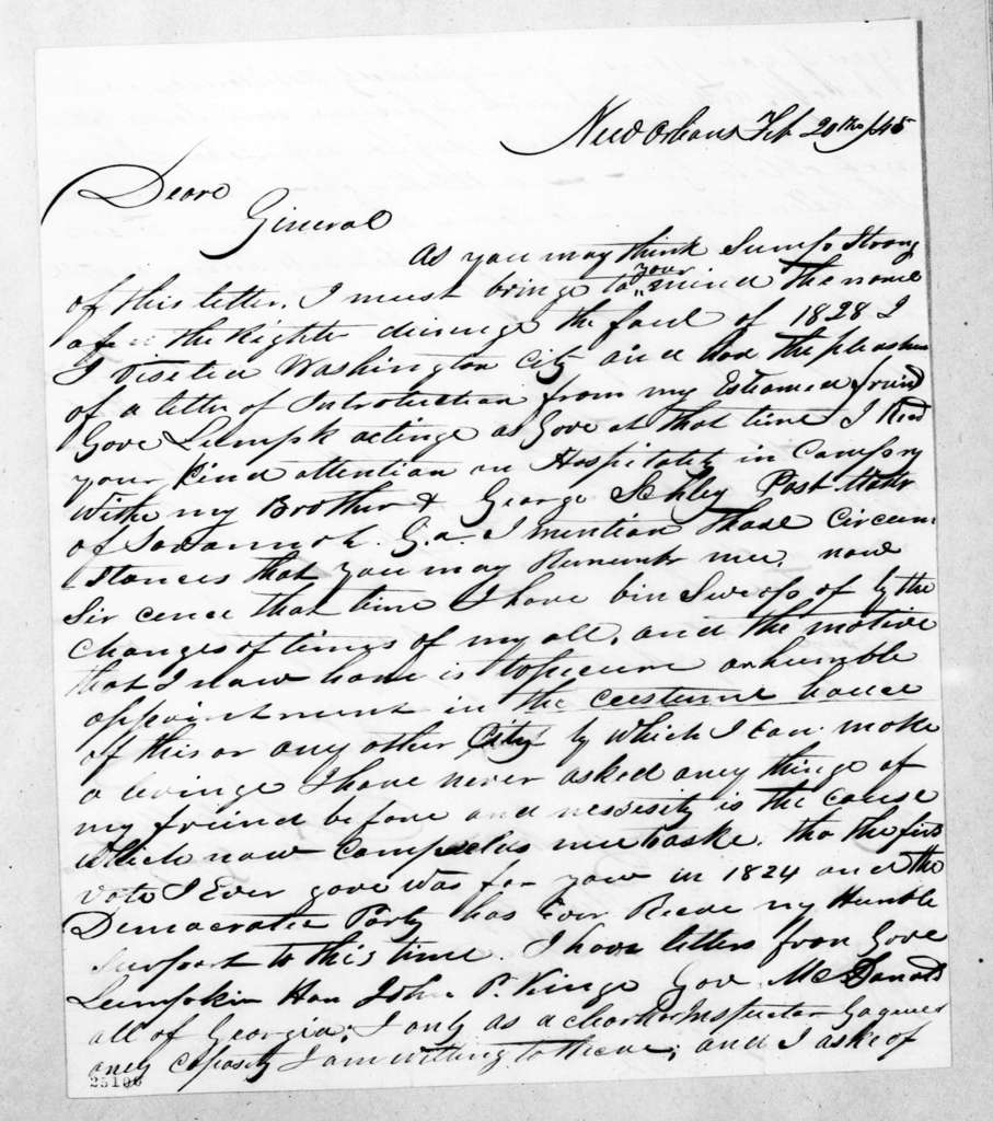 D. S. Holliday to Andrew Jackson, February 20, 1845