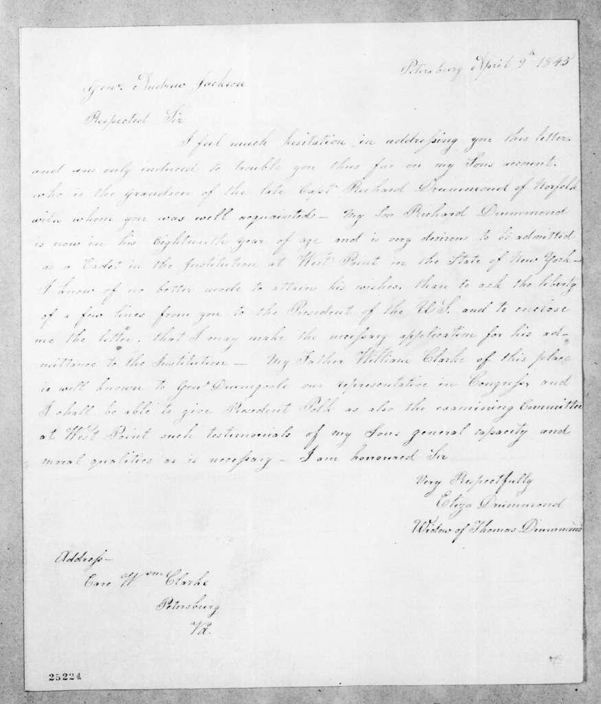 Eliza Clark Drummond to Andrew Jackson, April 9, 1845