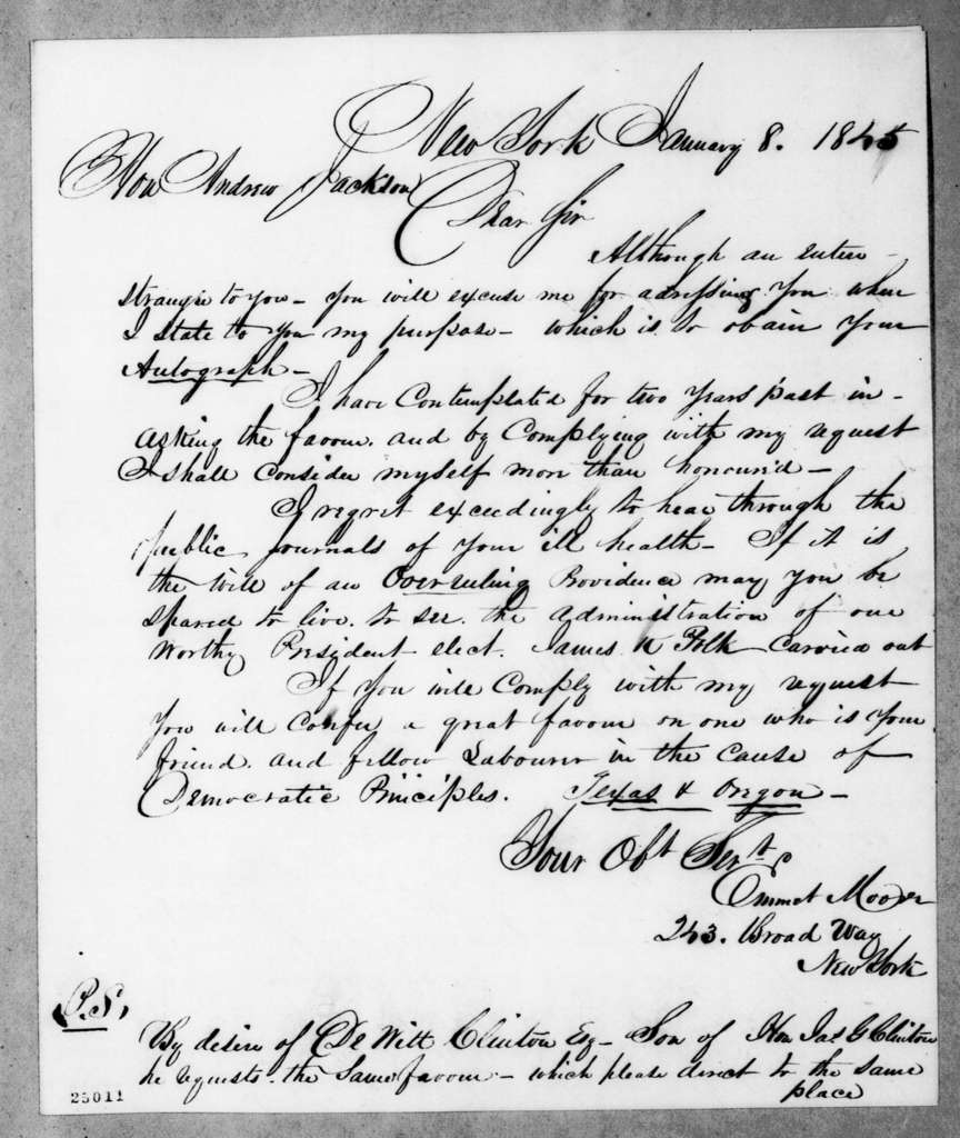 Emmet Moore to Andrew Jackson, January 8, 1845