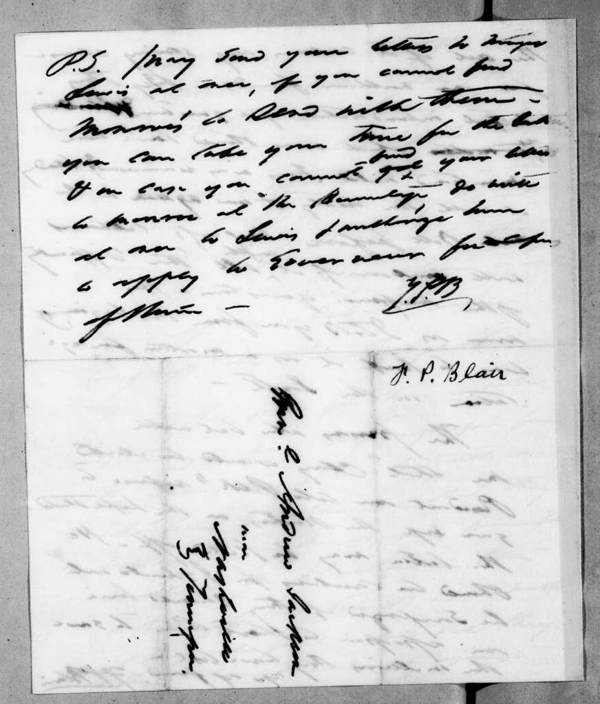 Francis Preston Blair to Andrew Jackson, January 4, 1845