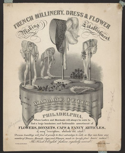French millinery, dress & flower making establishment / on stone by Jas. Queen ; P.S. Duval, Lith. Phila.