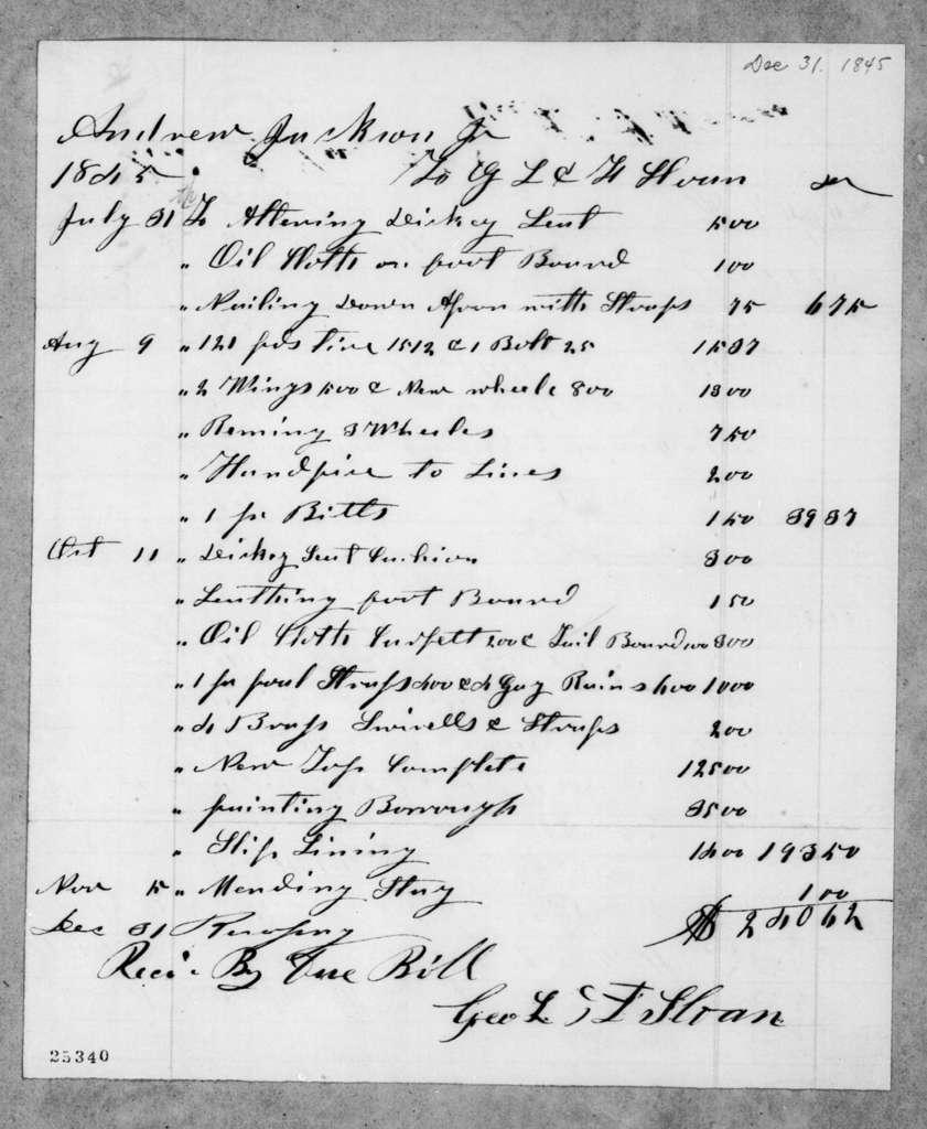 G. L. & F. Sloan to Andrew Jackson, Jr., December 31, 1845