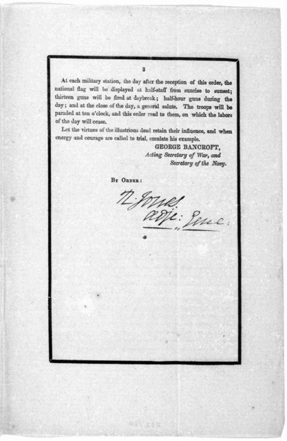 General orders No. 27. The following general order of the President, received through the War department, announces to the army, the death of the illustrious ex-president, General Andrew Jackson. Washington, June 16, 1845.