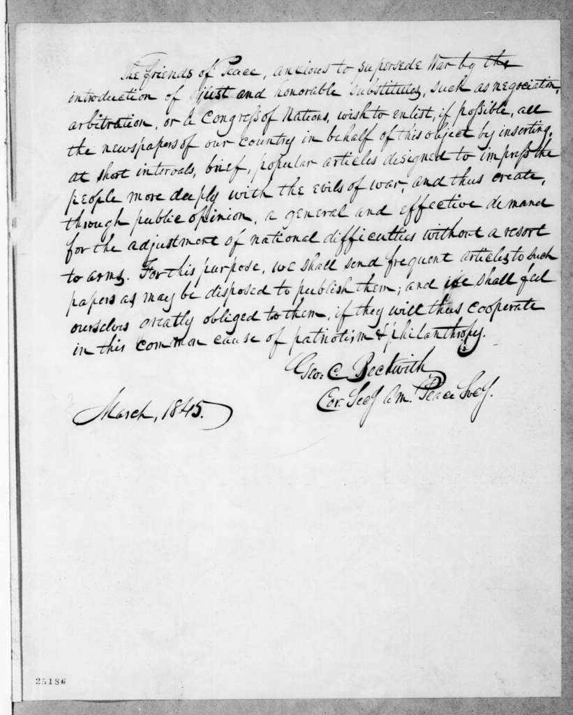 George C. Beckwith to Andrew Jackson, March 20, 1845
