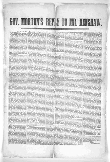 Gov. Morton's reply to Mr. Henshaw. Boston, October 16, 1845.