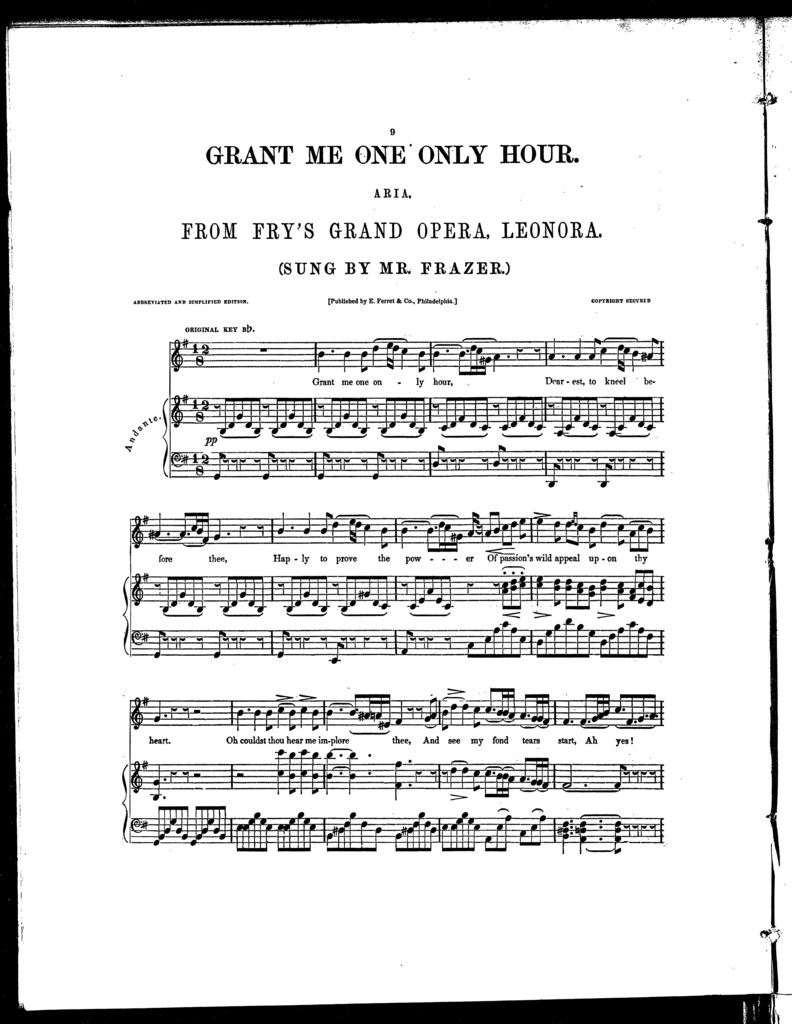Grant me one only hour, aria from] Leonora, part I