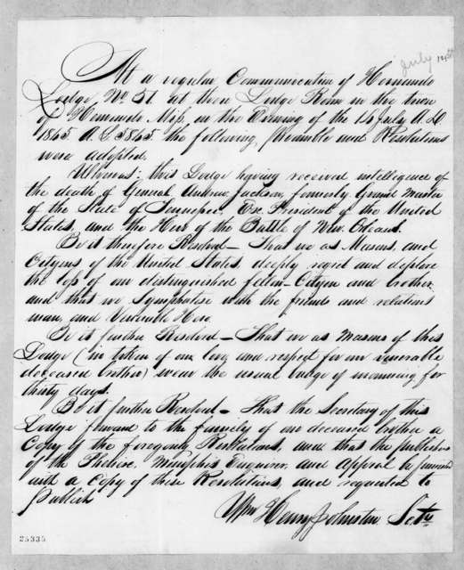Hernando Lodge No 51 to Andrew Jackson, July 14, 1845