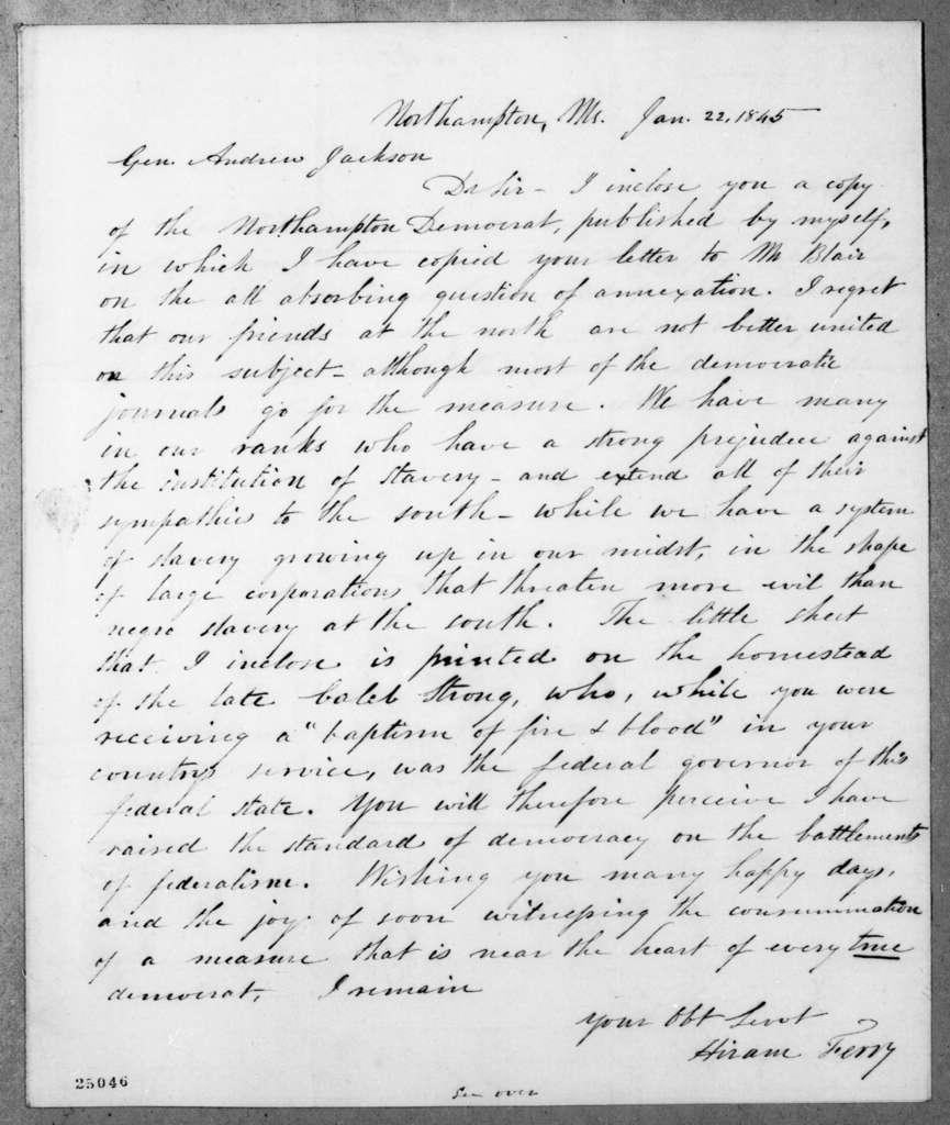 Hiram Ferry to Andrew Jackson, January 22, 1845