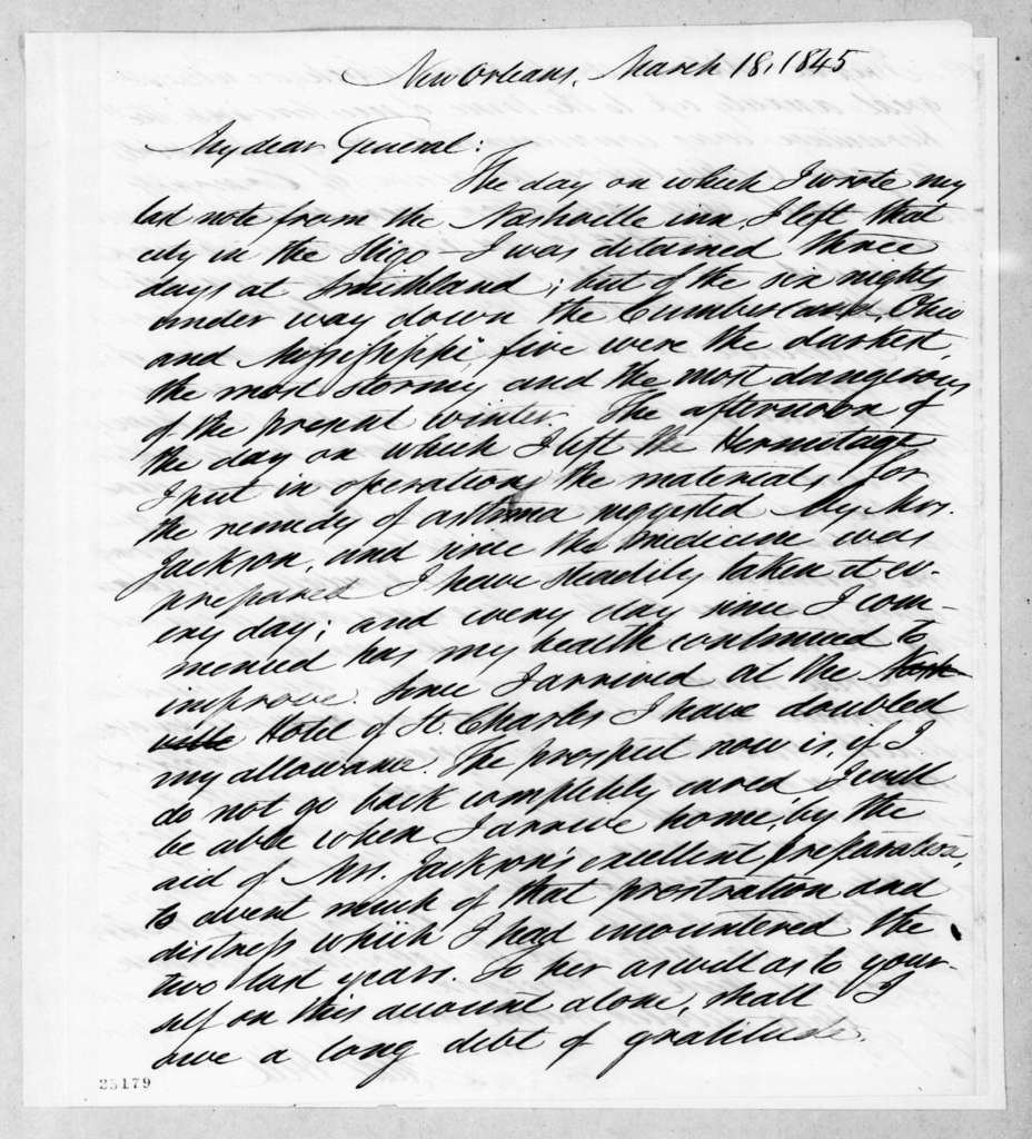 Isaac Hill to Andrew Jackson, March 18, 1845