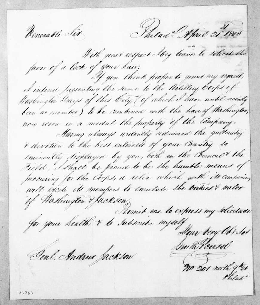 J. North Peirsol to Andrew Jackson, April 21, 1845