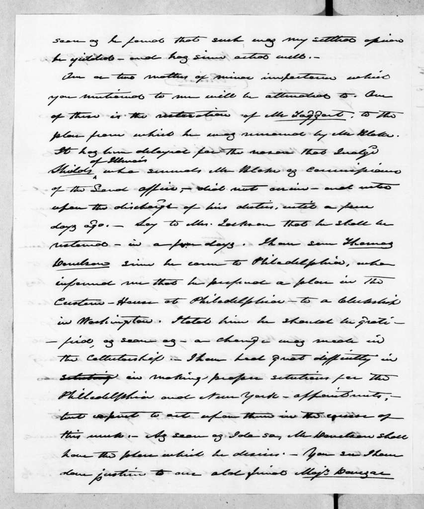 James Knox Polk to Andrew Jackson, April 27, 1845