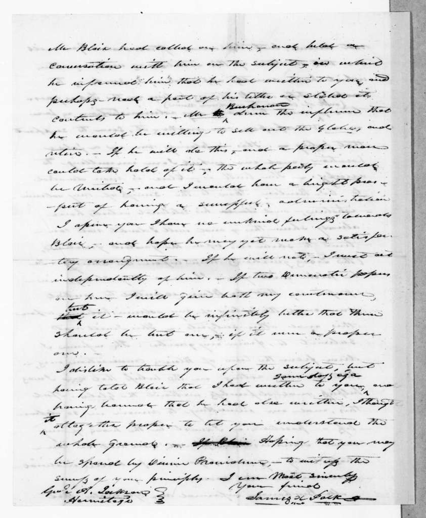 James Knox Polk to Andrew Jackson, March 26, 1845