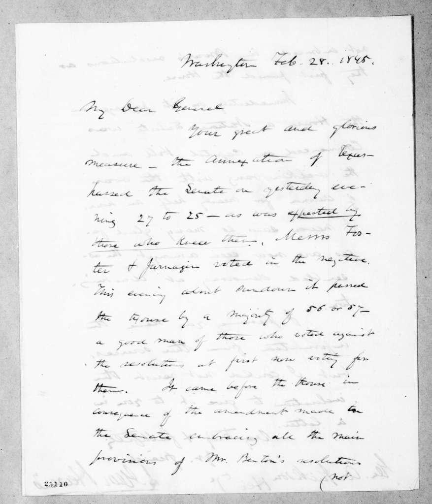 Jeremiah George Harris to Andrew Jackson, February 28, 1845