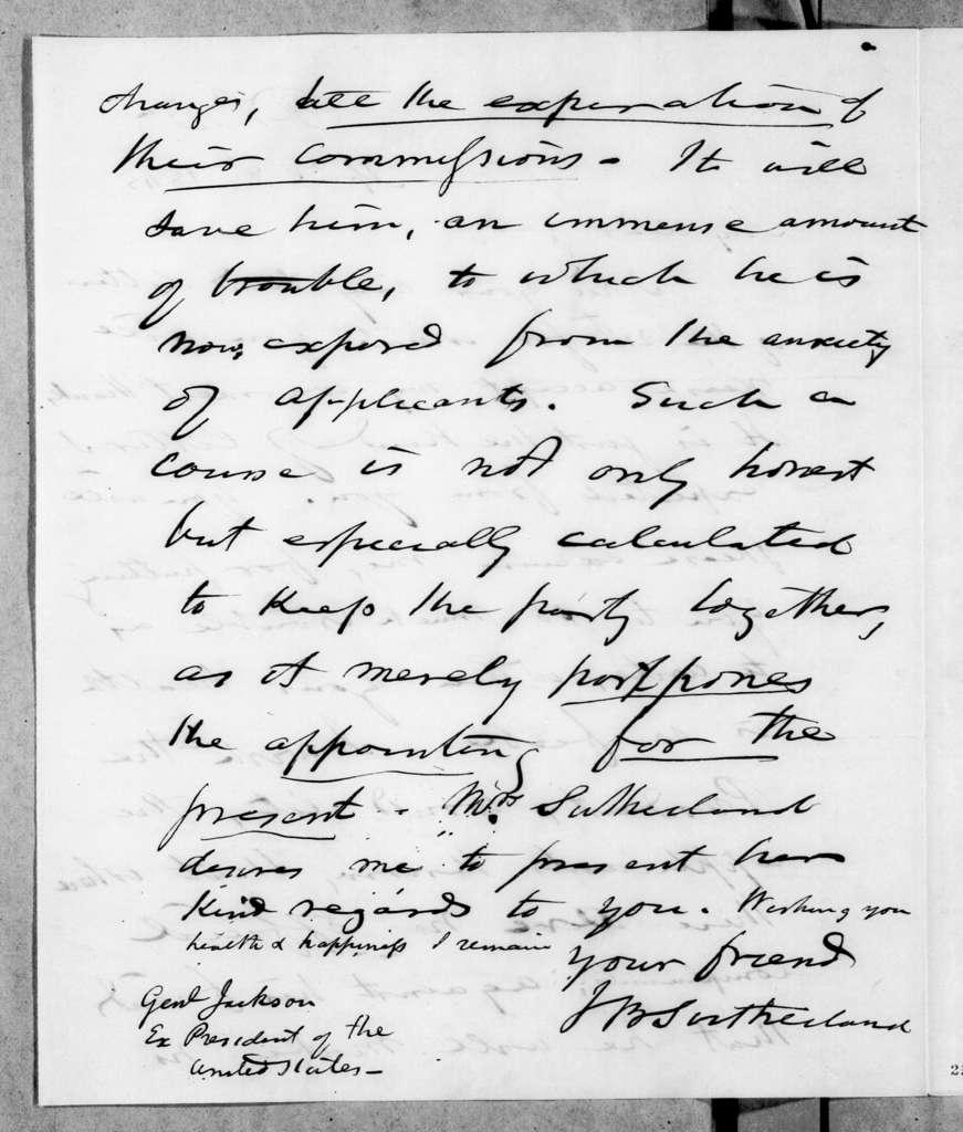 Joel Barlow Sutherland to Andrew Jackson, April 8, 1845