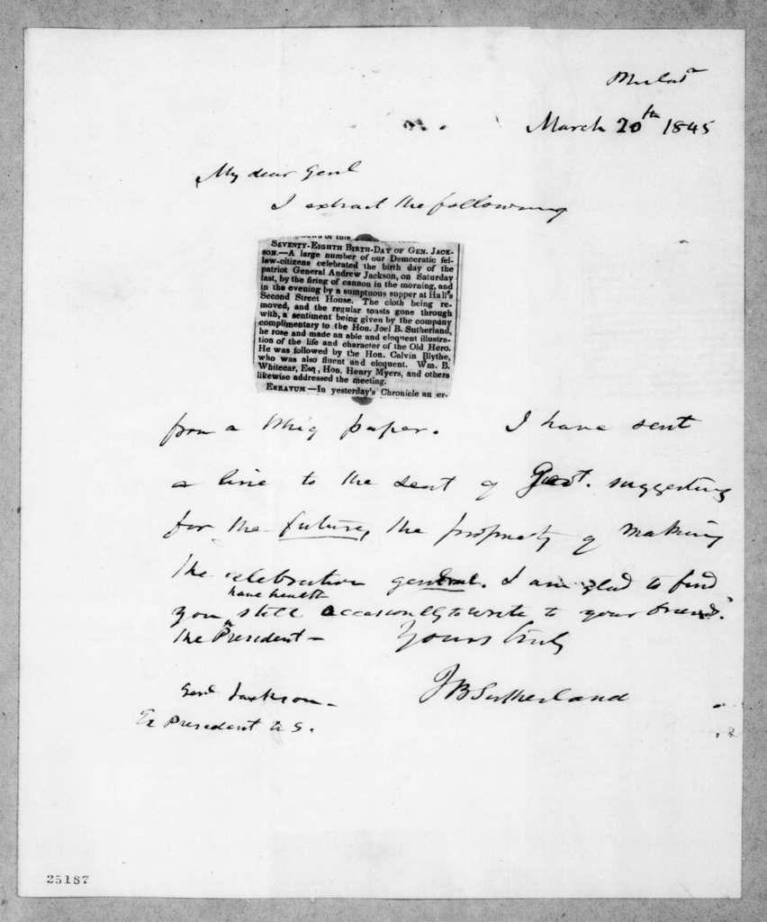 Joel Barlow Sutherland to Andrew Jackson, March 20, 1845