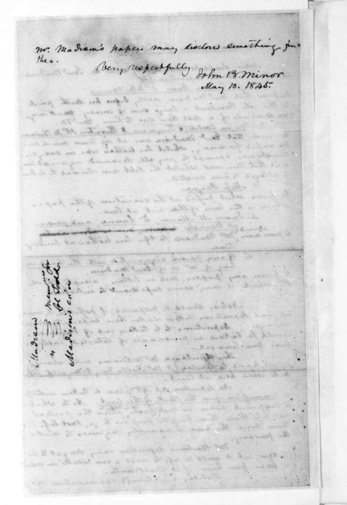 John B. Minor to John P. Todd, May 10, 1845. Memorandum for Col. Todd.