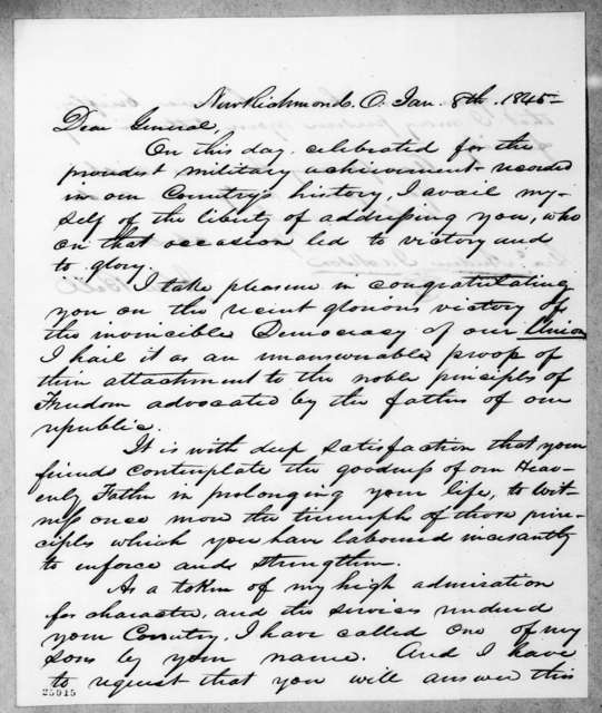 John Bell to Andrew Jackson, January 8, 1845